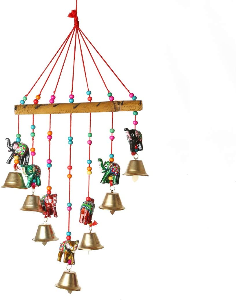 Colorful Elephant Windchaims Windchimes Jhoomar hanging for Home Door, Wall, Temple, Bedroom , Decorative Accessories for Party, Christmas decor , Wedding, Diwali Festivities Gift Size:- 20 Inch