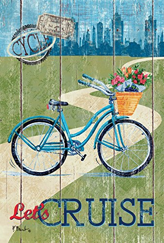 - Toland Home Garden Rustic Let's Cruise 28 x 40 Inch Decorative City Bicycle Basket Bike House Flag