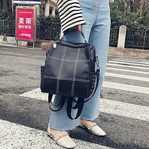Sac dos capacité à bandoulière grande de Femme black PU sac simple double MSZYZ sac à en BSp5RP