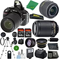 Nikon D5300 International Version - No Warranty, 18-55mm f/3.5-5.6 DX VR, Nikon 55-200mm f4-5.6G VR Nikkor, 2pcs 16GB ZeeTech Memory, Case, Wide Angle, Telephoto, Flash