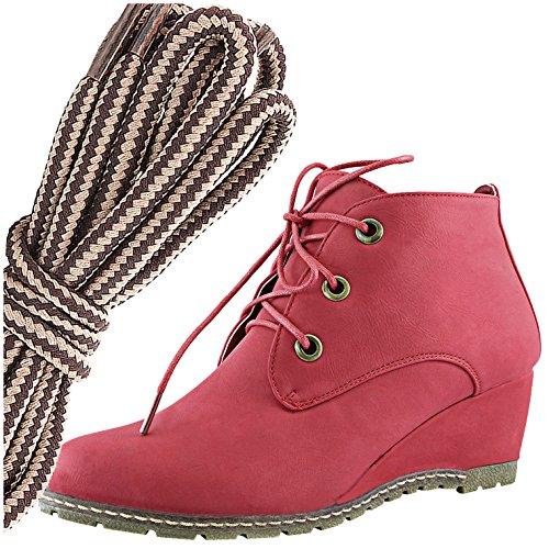 Dailyshoes Moda Donna Allacciatura Punta Rotonda Stivaletto Zeppa Alta Oxford, Marrone Taupe Rosso Pu