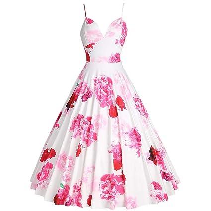 386a8f1412 Amazon.com: Toponly Sexy Camis Vintage Audrey Hepburn Dress for Women  Elegant V Neck Sleeveless Flower Printing Wedding Party A-line Midi Dresses:  Arts, ...