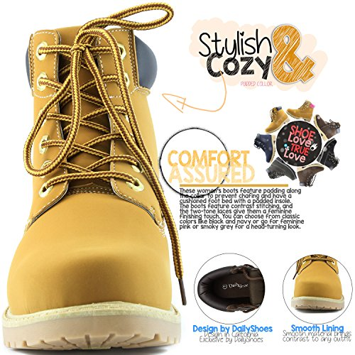 Tan Ankle Combat Ladies Women's Booties Collar Black Padded Lace PU up DailyShoes Work AqwvRZv