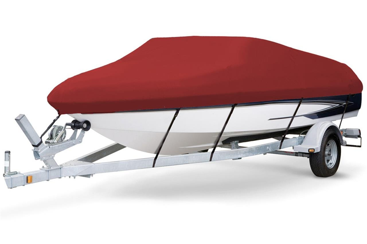 7 oz Solution Dyed Polyester RED, Styled to FIT Boat Cover for Key Largo 186 Bay 2015-2016 by SBU-CV