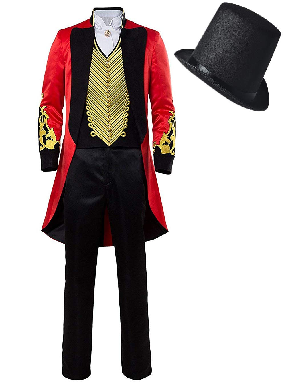 COSOME Halloween PT Showman Party Performance Barnum Tailcoat Tuxedo Cosplay Costume Circus Red Outfit Uniform Gothic Suit (Male Large, Gold)