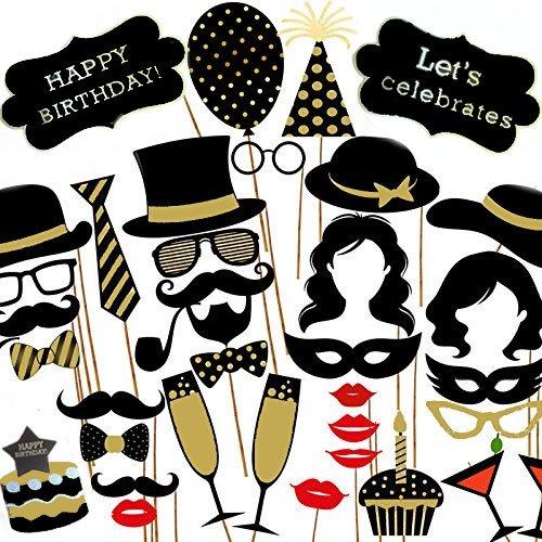 Veewon Geburtstagsfeier Fotorequisiten Foto Booth Props 35pcs DIY Kit Geburtstagstorte, Happy Birthday Zeichen, Schnurrbart, Glä ser, Krawatten, Lippen fü r Geburtstagsfeier