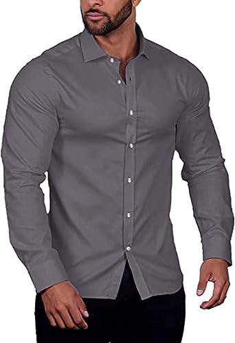 COOFANDY Camisa de hombre de manga larga elástica de un solo color, ajuste regular, ocio, negocios, cuello sin planchado, para hombres