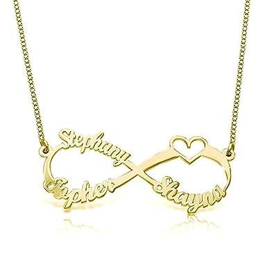 44ed601e9e50 Collar Personalizado de Joyería Nombres Personalizado Nombre Personalizado  Colgante Grabado de Infinito corazón para Ella  Amazon.es  Joyería