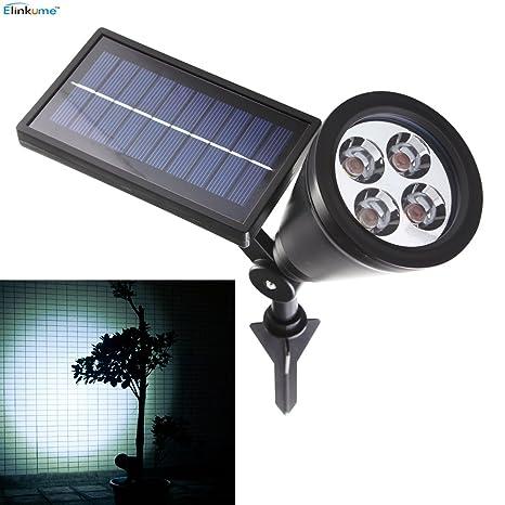 Elinkume Proyector solar LED 4LEDs Lámpara solar para exteriores ...
