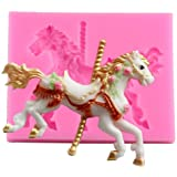 3D Carousel Horse Mould Silicone Fondant Cake Molds Kitchen Cake Decorating Mold Candy Clay Gumpaste Chocolate Moulds