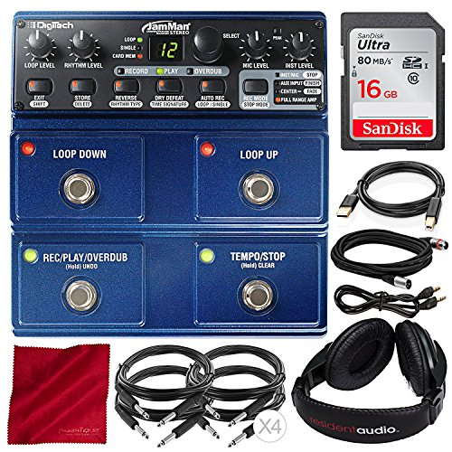 Digitech JamMan Stereo Looper Delay Pedal with 16GB SD Card, Closed-Back Headphones, and Accessory Bundle