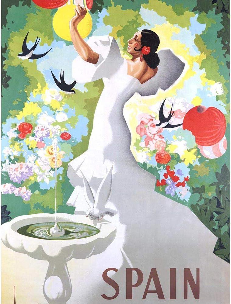 Wee Blue Coo Travel Spain Flamenco Dance Bird Bath Unframed Wall Art Print Poster Home Decor Premium