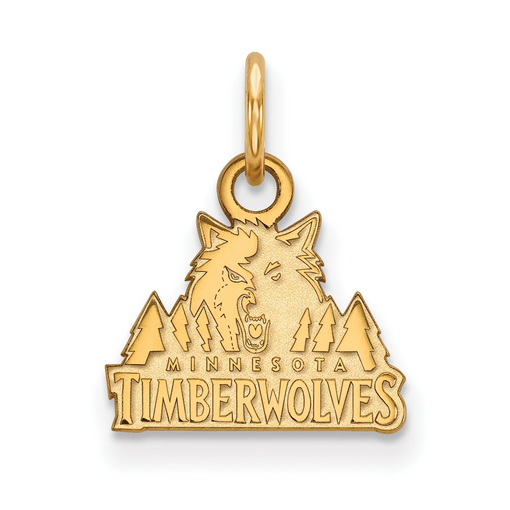 NBA Minnesota Timberwolves Xsmall Logo Pendant in 14K Yellow Gold