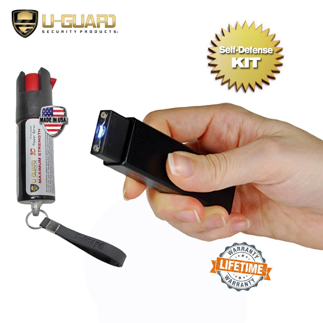 Mini Keychain Taser Slider Stun Gun Pepper Spray Self Defense Kit. Personal Non Lethal Weapons For Women Or Men. High Volt Rechargeable USB Pocket Tazer & Key Ring Strongest OC Defence Spray (BLACK)