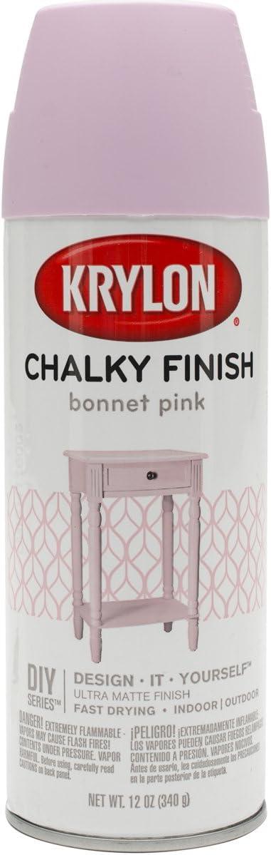 Krylon K04116000, Bonnet Pink, K04116007 Chalky Finish Spray Paint, 12 Ounce, Aerosol
