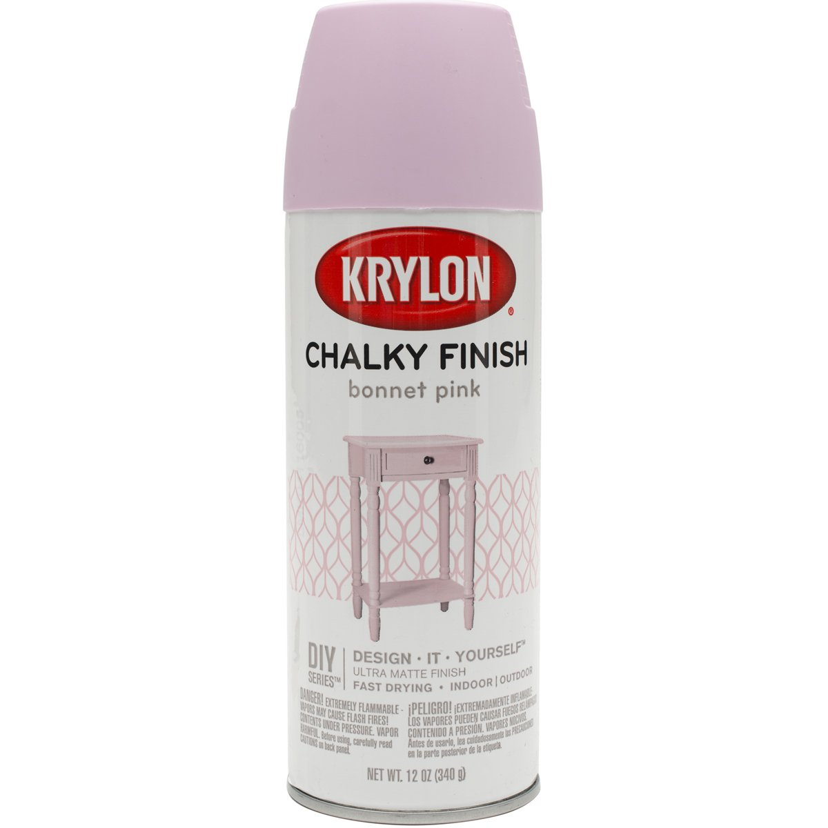 Krylon K04116007 Chalky Finish Spray Paint, Bonnet Pink, 12 Ounce