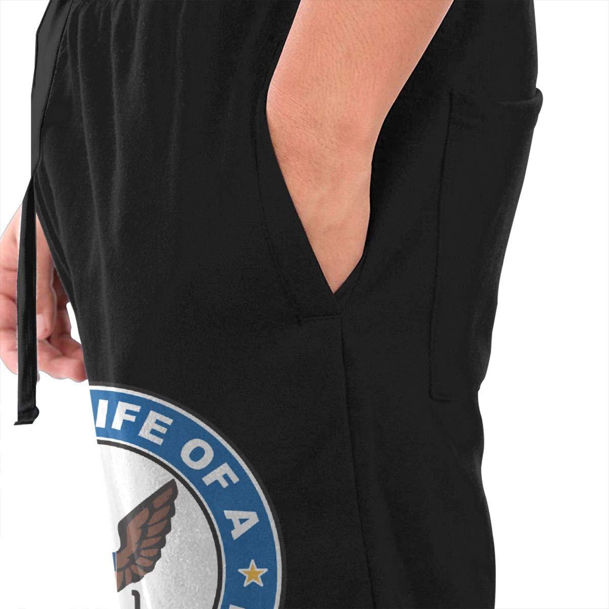 Dbou US Navy Veteran Proud Wife Drawstring Waist,100/% Cotton,Elastic Waist Cuffed,Jogger Sweatpants Black