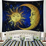 Racunbula Psychedelic Tapestry Sacred Moon and Sun Tapestry Wall Hanging Antique Style Indian Mystic Tapestry Hippy Bohemian Tapestries Wall Art for Bedroom Dorm Decor