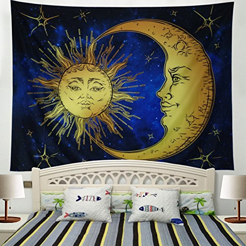 Racunbula Psychedelic Tapestry Sacred Moon and Sun Tapestry Wall Hanging Antique Style Indian Mystic Tapestry Hippy Bohemian Tapestries Wall Art for Bedroom Dorm Decor (X-Large, 4#Moon)