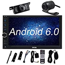Front and Backup Camera + Eincar Android 6.0 Car Stereo with External Microphone, 7 Inch 2 Din In Dash Bluetooth Radio, Support Front/Backup Cam-in, 3G/4G, WIFI, USB/SD, OBD2, Mirror Link, 1080P