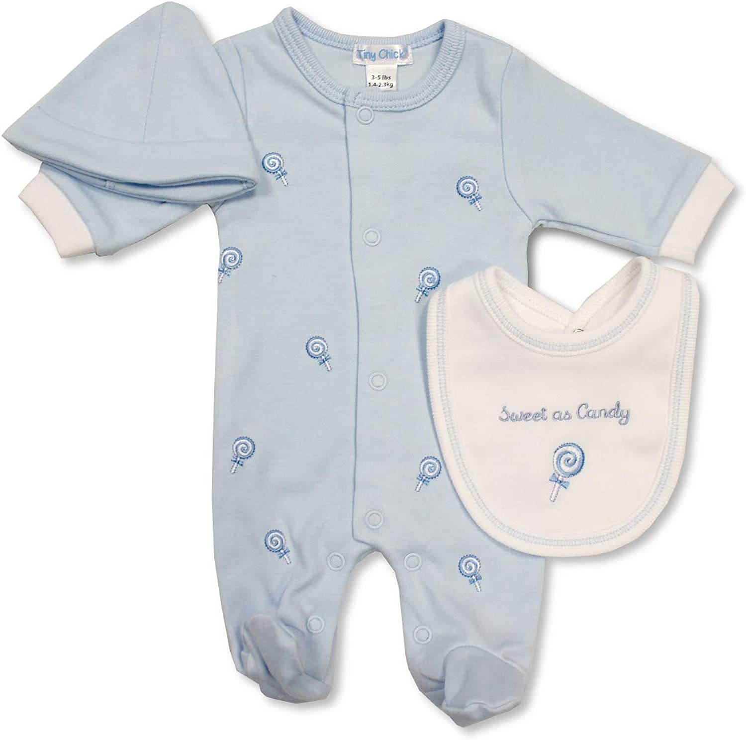 My Little Chick Tiny Baby Premature Blue Boys Babygrow Bib Hat Candy All in One 5-8 lbs 491