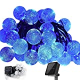 Crystal String Lights, DINOWIN Outdoor Solar String Lights 7M 50LED Solar Crystal String Lights Waterproof with 2 Lighting Mode for Christmas, Home, Garden, Indoor Outdoor Decoration (Blue)