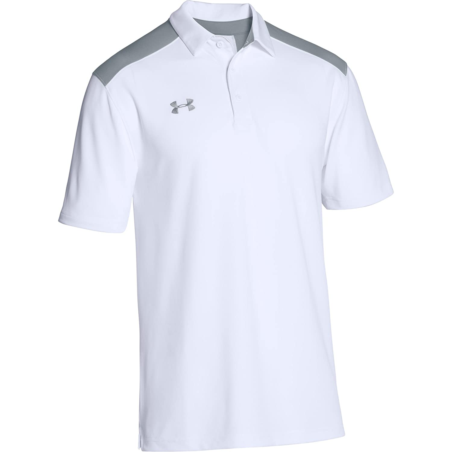 Under Armour Mens Team Armour Colorblock Polo (Small, White-Steel ...
