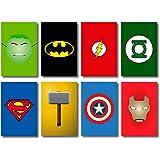 Kit 8 Placas Decorativas Mdf Herois Geek Marvel