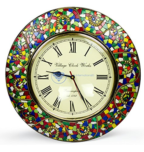 Colorful Marble Chunks Embedded Premium Handmade Nautical Time's Wall Decor Clock | Nagina International (Android Green)