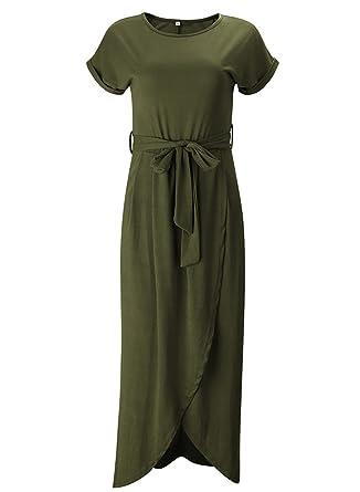 6bb0762aff ACHICGIRL Women's Short Sleeve High Slit Solid Maxi Dress with Belt, Army  Green S