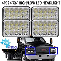 4PCS 4X6 Inch Upgrade LED Headlights for GMC C4500 5500, Rectangular Sealed Beam Super Bright H4651 H4652 H4656 H4666 H6545 Headlamps High Beam / Low Beam Conversion Kit