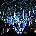 Rimila LED Falling Rain Lights, Meteor Shower Rain Light(11.8 inch 8 Tube) Waterproof Snow Falling Drop Light for Garden Party Wedding Christmas Tree etc (White)