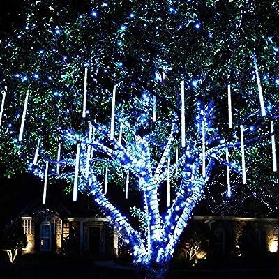 Rimila LED Falling Rain Lights(Without Plug Included), Meteor Shower Rain Light(11.8 inch 8 Tube) Waterproof Snow Falling Drop Light for Garden Party Wedding Festival Tree etc (White)
