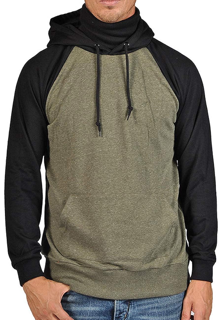 Amazon.com: ARSNL Mens Two Tone Ninja Hoodie - Olive Black ...