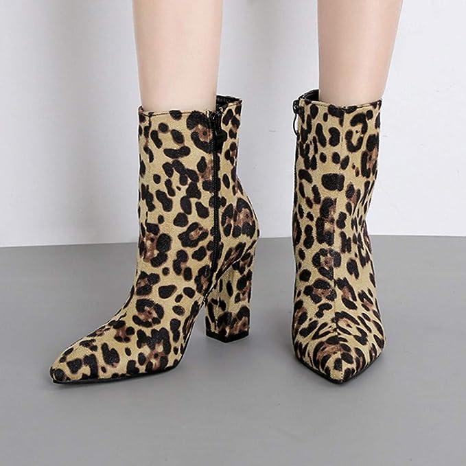 WORMENG Chelsea - Botas de Mujer de Piel de Serpiente/Leopardo ...