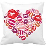 Red Love Heart Lips Throw Pillow Case Cushion Cover Cotton Polyester 18 x 18 Inch Valentine's Day Home Decoration