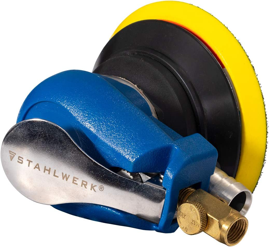 STAHLWERK Druckluft Schleifer Poliermaschine Exzenterschleifer Auto Polierer Polieren von lackierten Oberfl/ächen Schleifen von Metall Kunststoffen und Holz mit Absaugsystem und Staubbeutel