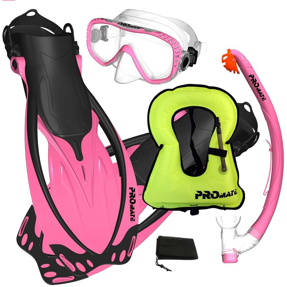 Promate Snorkeling Vest Jacket Mask Fins Dry Snorkel Gear Set, Pink, SM