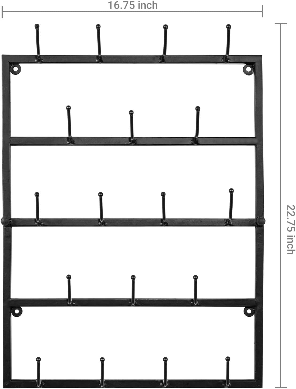 MyGift Modern Wall Mounted 18-Hook Matte Black Metal Hat /& Coat Display Rack