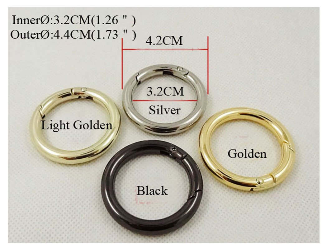 4 PCS 32mm Metal Snap Clip Trigger Spring Gate O Ring Keyring Buckle Bag Accessories Rings (Gold) loveandloved 4337003474