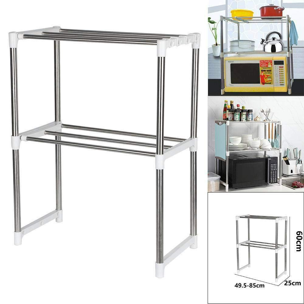 True Face 2 Tier Microwave Oven Storage Rack Extendable Shelf Utensil Stainless Steel Shelves Kitchen Stand Shelving Organiser Countertop Space Saver