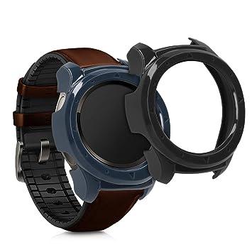 kwmobile Set de 2 Fundas para Huawei Watch 2 - Carcasa Dura para seguidor de Actividad - Case Negro/Gris