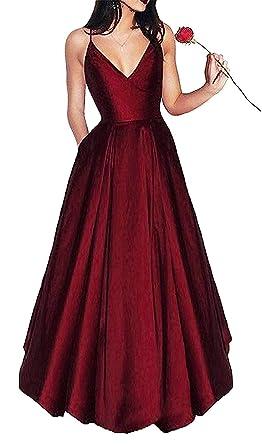 c879e778de5 Abaowedding Women s V Neck Evening Prom Dress Straps Stain A Line Formal  Ball Gowns Burgundy US