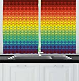 Cheap Ambesonne Fiesta Kitchen Curtains, Colorful Scale Pattern Snake and Dragon Skin Abstract Composition Rainbow Inspired, Window Drapes 2 Panel Set for Kitchen Cafe, 55 W X 39 L Inches, Multicolor