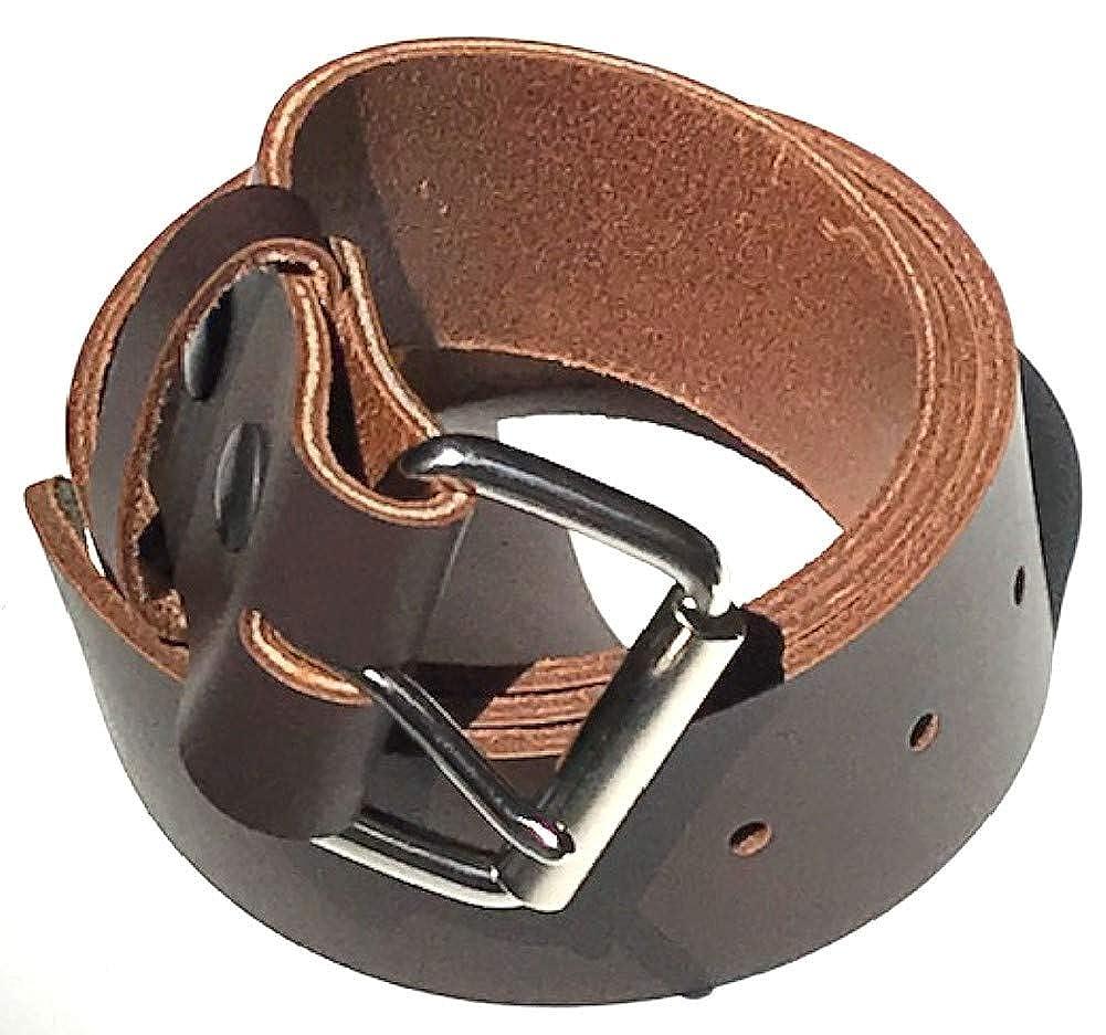 Mens Heavy Duty Dark Chocolate Brown Leather Belt 1 3//4 Wide