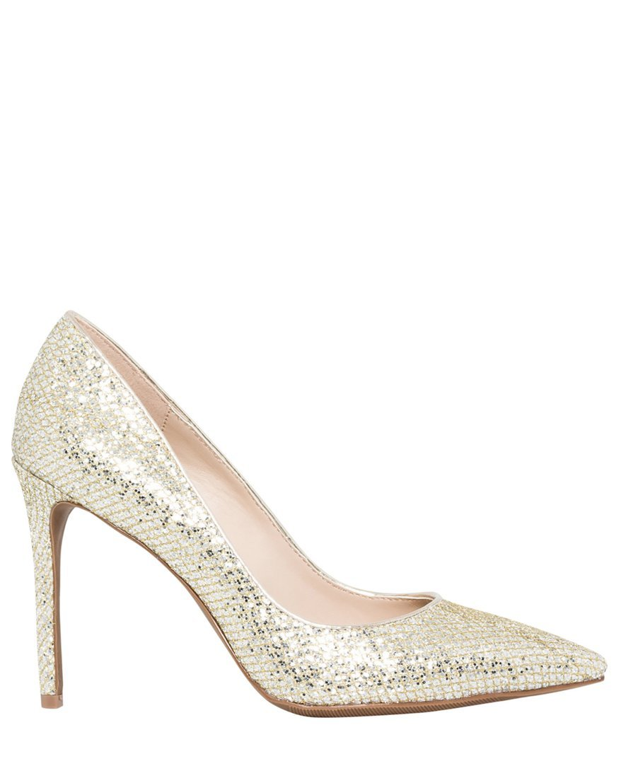 LE CHÂTEAU Women's High Heel Glitter Pointy Toe Pump,8,Platino