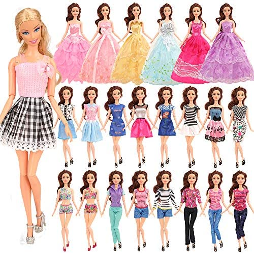 Barwa バービー用ドレス バービー用服 バービー人形用服 手作り 着せ替え 18枚セット=2枚ドレス+2着服+2枚ロングドレス+2枚水着+10靴 プレゼント 子供の日