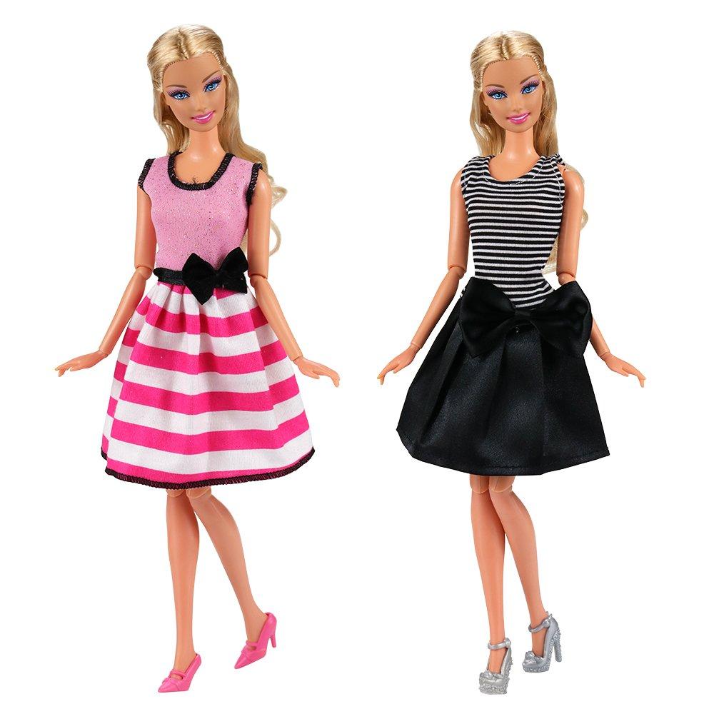 Miunana 15 V/êtements Accessoires = 5 Robes en Vogue 5 Cintres 5 Paires de Chaussures pour Poup/ée Barbie Cadeau pour Les Filles