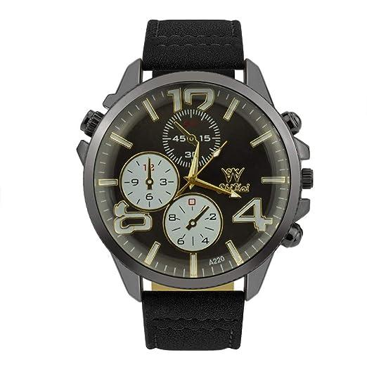 DAYLIN Relojes Mujer Hombre Negro Reloj Pulsera Actividad Mujer Correa de Cuero Reloj de Cuarzo Analogico Joyas Regalos Wrist Watch Men Women: Amazon.es: ...