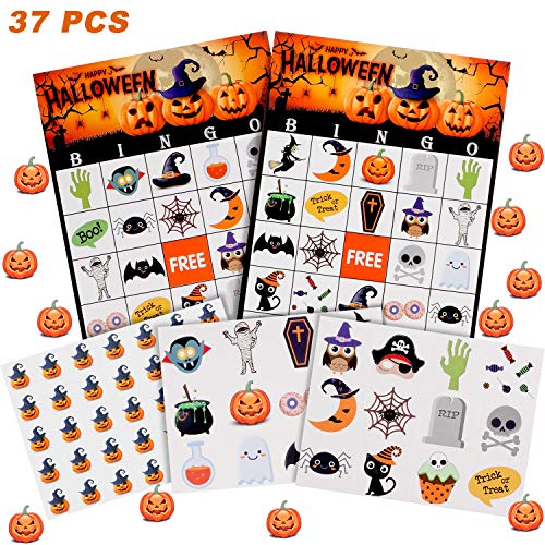 37 Sheets Halloween Bingo Cards for Kids Halloween Party Games Classroom Activities, 24 Players